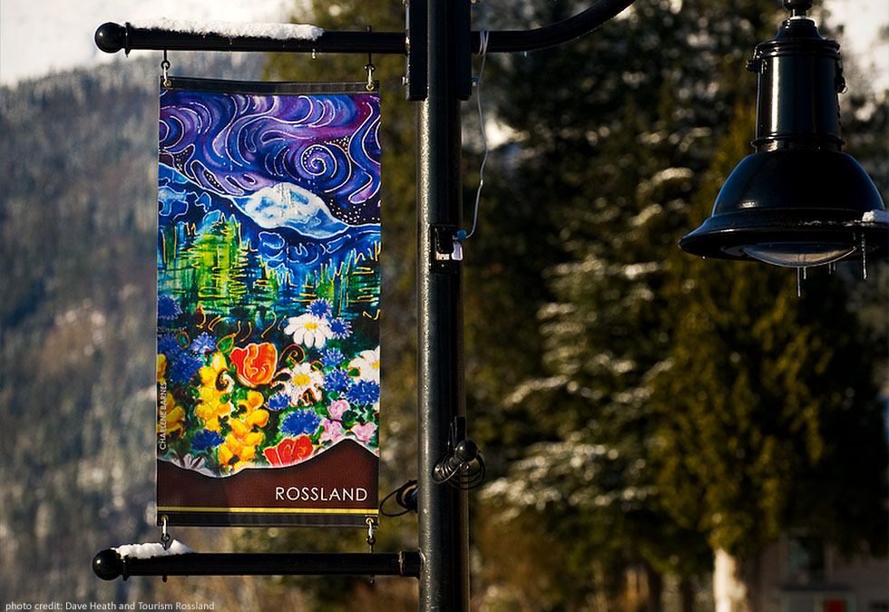 Street Banner for Tourism Rossland - photo by Dave Heath