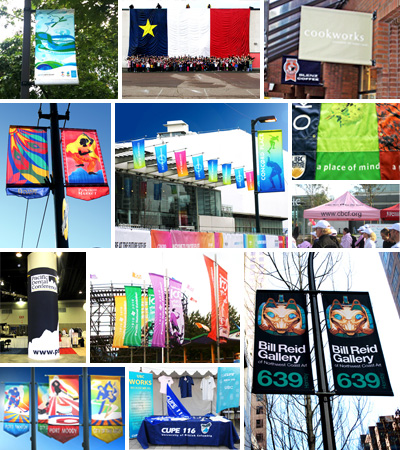 Custom work, Custom flag, Custom banner, Street banner, Trade show banner, Indoor outdoor banner